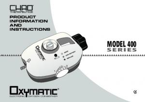 PRODUCT INFORMATION AND INSTRUCTIONS MODEL 400 SERIES