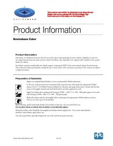 Product Information. Envirobase Color. Product Description. Preparation of Substrate