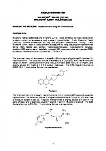 PRODUCT INFORMATION. NAME OF THE MEDICINE: atovaquone and proguanil hydrochloride