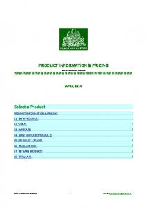 PRODUCT INFORMATION & PRICING