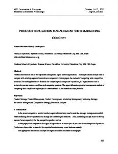 PRODUCT INNOVATION MANAGEMENT WITH MARKETING CONCEPT