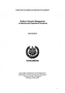 Product Lifecycle Management Architectural and Organisational Perspectives