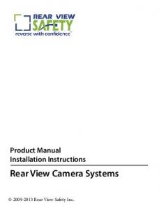 Product Manual Installation Instructions Rear View Camera Systems