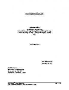 PRODUCT MONOGRAPH. Thyroid Hormone. Date of Preparation: December 22, 2014