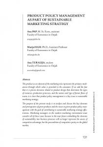 PRODUCT POLICY MANAGEMENT AS PART OF SUSTAINABLE MARKETING STRATEGY