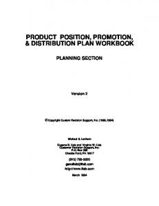 PRODUCT POSITION, PROMOTION, & DISTRIBUTION PLAN WORKBOOK