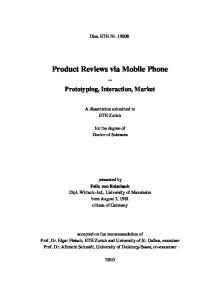 Product Reviews via Mobile Phone