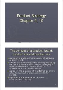 Product Strategy Chapter 9, 10