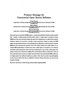 Product Strategy for Commercial Open Source Software