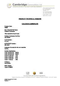 PRODUCT TECHNICAL DOSSIER CALCIUM CARBONATE