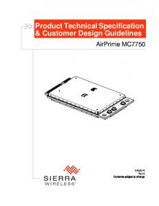 Product Technical Specification & Customer Design Guidelines