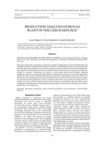 PRODUCTION ANALYSIS OF BIOGAS PLANT IN THE CZECH REPUBLIC