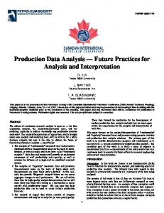 Production Data Analysis Future Practices for Analysis and Interpretation