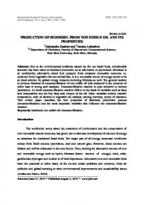 PRODUCTION OF BIODIESEL FROM NON EDIBLE OIL AND ITS PROPERTIES
