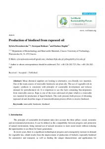 Production of biodiesel from rapeseed oil