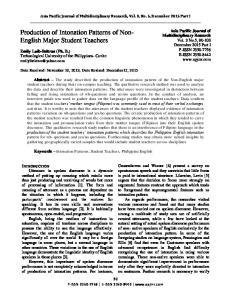 Production of Intonation Patterns of Non- English Major Student Teachers