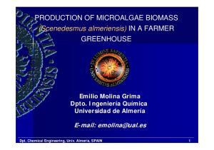 PRODUCTION OF MICROALGAE BIOMASS (Scenedesmus almeriensis) IN A FARMER GREENHOUSE