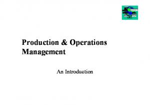 Production & Operations Management. An Introduction