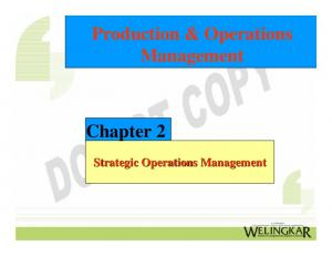 Production & Operations Management. Chapter 2. Strategic Operations Management