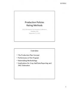 Production Policies Rating Methods