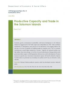 Productive Capacity and Trade in the Solomon Islands