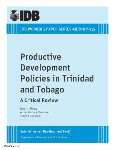 Productive Development Policies in Trinidad and Tobago