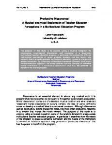 Productive Dissonance: A Musical-analytical Exploration of Teacher Educator Perceptions in a Multicultural Education Program