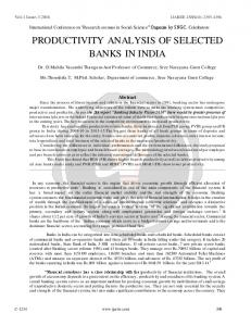 PRODUCTIVITY ANALYSIS OF SELECTED BANKS IN INDIA