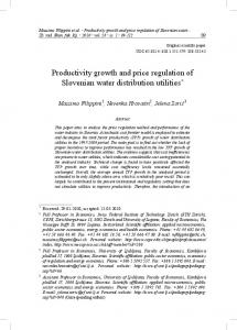 Productivity growth and price regulation of Slovenian water distribution utilities *