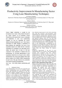 Productivity Improvement In Manufacturing Sector Using Lean Manufacturing Techniques