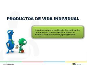 PRODUCTOS DE VIDA INDIVIDUAL