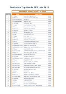 Productos Top tienda EES ruta 2015