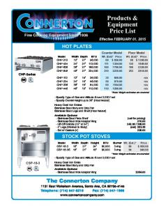 Products & Equipment Price List Effective FEBRUARY 01, 2015