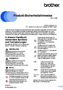 Produkt-Sicherheitshinweise 1 DCP-J140W
