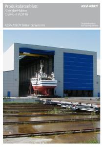 Produktdatenblatt Gewebe-Hubtor Crawford VL3116. ASSA ABLOY Entrance Systems
