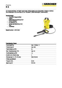 Produkte K 2. Technische Daten