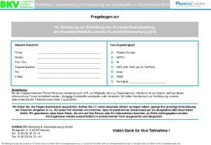 Produktion, Verarbeitung und Verwertung von Kunststoffen in Deutschland Fragebogen zur