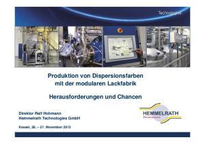 Produktion von Dispersionsfarben mit der modularen Lackfabrik. Herausforderungen und Chancen