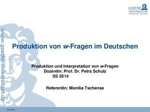Produktion von w-fragen im Deutschen