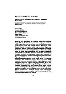 PRODUKTIVITI BAGI SISTEM PENGAJIAN TINGGI DI MALAYSIA (PRODUCTIVITY IN HIGHER EDUCATION SYSTEM IN MALAYSIA)