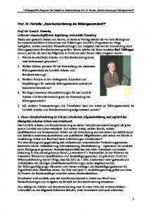 Prof. Dr. Famulla: Berufsorientierung als Bildungsstandard?