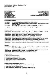 Prof. Dr. Marco Caliendo - Curriculum Vitae