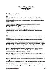 Prof. Dr. med. Dr. phil. Peter Kaiser Vortragsverzeichnis