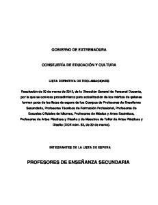 PROFESORES DE ENSEÑANZA SECUNDARIA