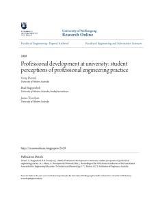 Professional development at university: student perceptions of professional engineering practice