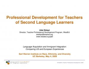 Professional Development for Teachers of Second Language Learners