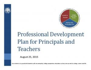 Professional Development Plan for Principals and Teachers