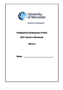 Professional Development Profile. SE3 Teacher s Standards