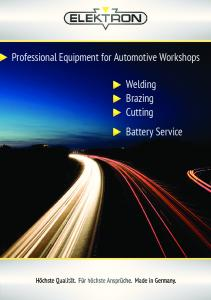 Professional Equipment for Automotive Workshops. Welding Brazing Cutting Battery Service