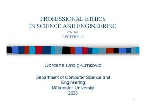 PROFESSIONAL ETHICS IN SCIENCE AND ENGINEERING